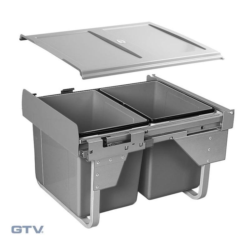 Kosz na śmieci 2x 15 l - niski do szafki 450 mm