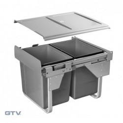 Kosz na śmieci 2x20l - wysoki do szafki 450 mm